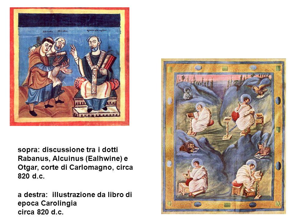 sopra: discussione tra i dotti Rabanus, Alcuinus (Ealhwine) e Otgar, corte di Carlomagno, circa 820 d.c. a destra: illustrazione da libro di epoca Car