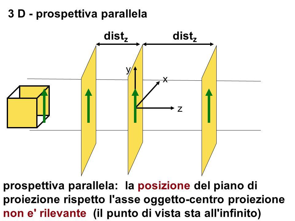 3 D - prospettiva parallela z x y dist z prospettiva parallela: la posizione del piano di proiezione rispetto l'asse oggetto-centro proiezione non e'