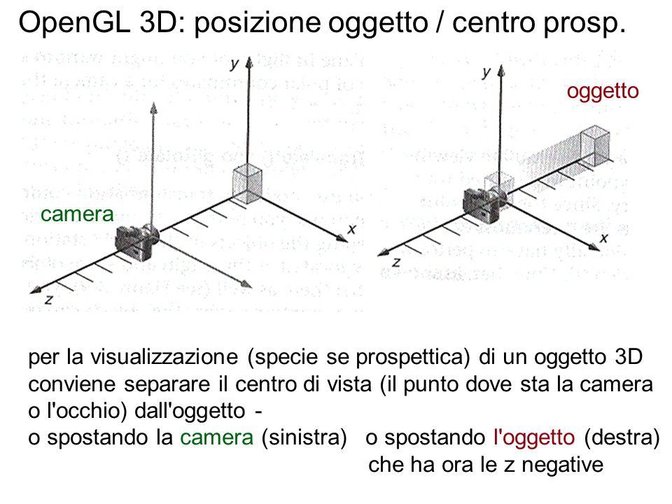 OpenGL 3D: posizione oggetto / centro prosp. per la visualizzazione (specie se prospettica) di un oggetto 3D conviene separare il centro di vista (il