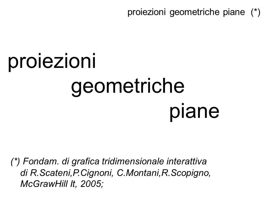 proiezioni geometriche piane (*) proiezioni geometriche piane (*) Fondam. di grafica tridimensionale interattiva di R.Scateni,P.Cignoni, C.Montani,R.S