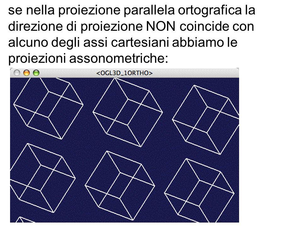 se nella proiezione parallela ortografica la direzione di proiezione NON coincide con alcuno degli assi cartesiani abbiamo le proiezioni assonometrich