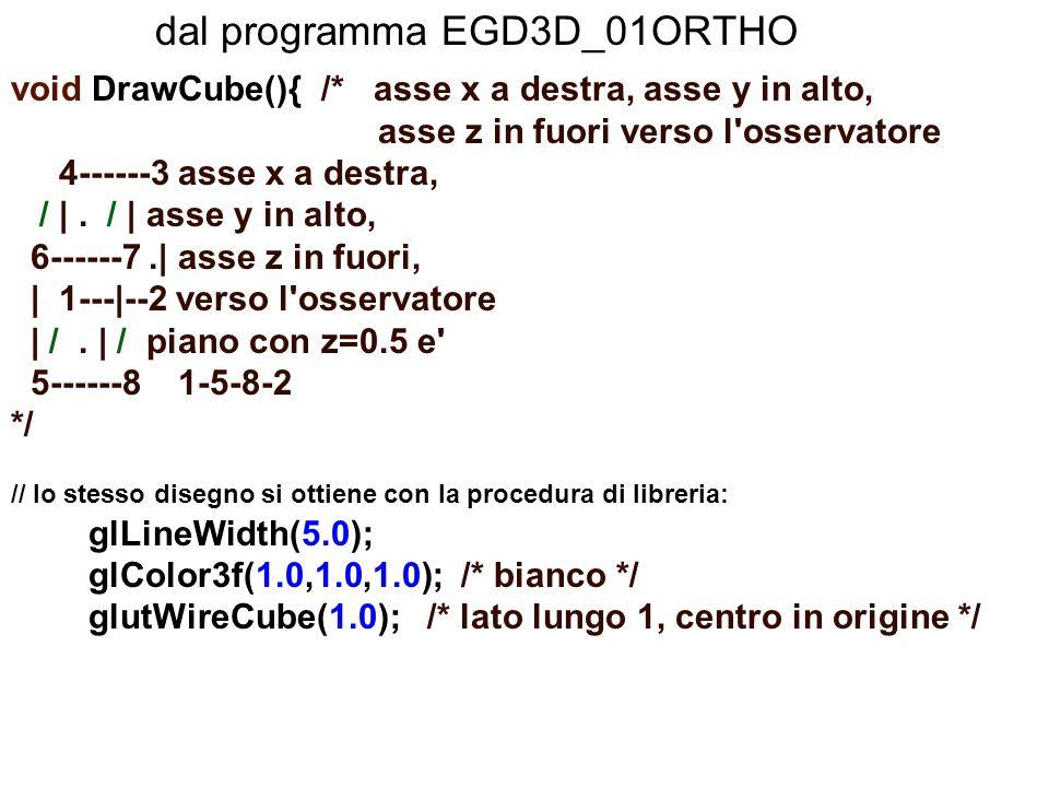 dal programma EGD3D_01ORTHO void DrawCube(){ /* asse x a destra, asse y in alto, asse z in fuori verso l'osservatore 4------3 asse x a destra, /  . /