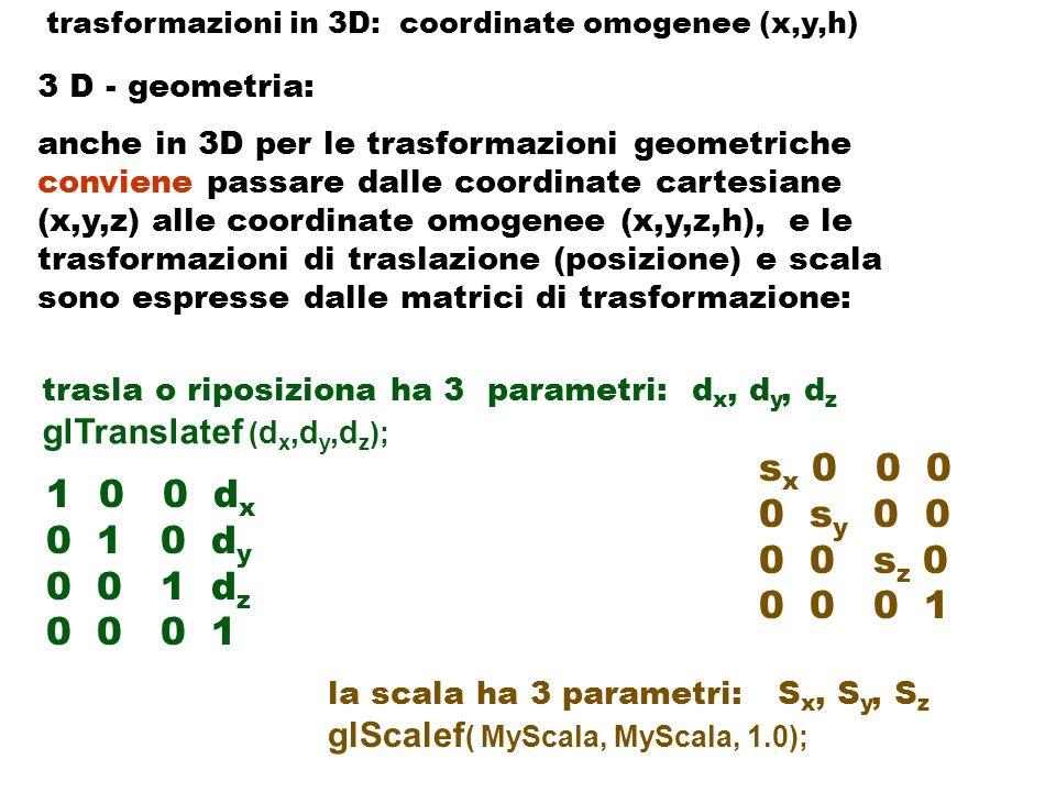 3 D - geometria: anche in 3D per le trasformazioni geometriche conviene passare dalle coordinate cartesiane (x,y,z) alle coordinate omogenee (x,y,z,h), la trasformazione di rotazione ha 4 parametri glRotatef (MyAlfa, dirx, diry, dirz); ( oppure si puo definire con tre rotazioni attorno i tre assi x, y, z, di angoli...