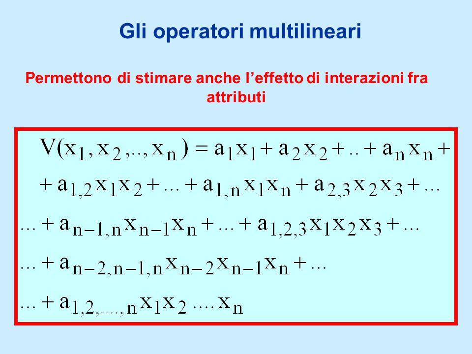 Permettono di stimare anche leffetto di interazioni fra attributi Gli operatori multilineari