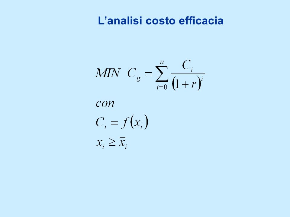 Il risultato della trasformazione La matrice di valutazione Compendio di tutte le prestazioni delle alternative rispetto ad un appropriato set attributi (criteri) A1A1 …AnAn a1a1 a 11 …a n1...……… ahah a 1h …a nh