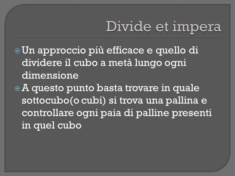 Un approccio più efficace e quello di dividere il cubo a metà lungo ogni dimensione A questo punto basta trovare in quale sottocubo(o cubi) si trova una pallina e controllare ogni paia di palline presenti in quel cubo