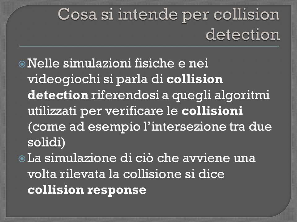Nelle simulazioni fisiche e nei videogiochi si parla di collision detection riferendosi a quegli algoritmi utilizzati per verificare le collisioni (come ad esempio lintersezione tra due solidi) La simulazione di ciò che avviene una volta rilevata la collisione si dice collision response