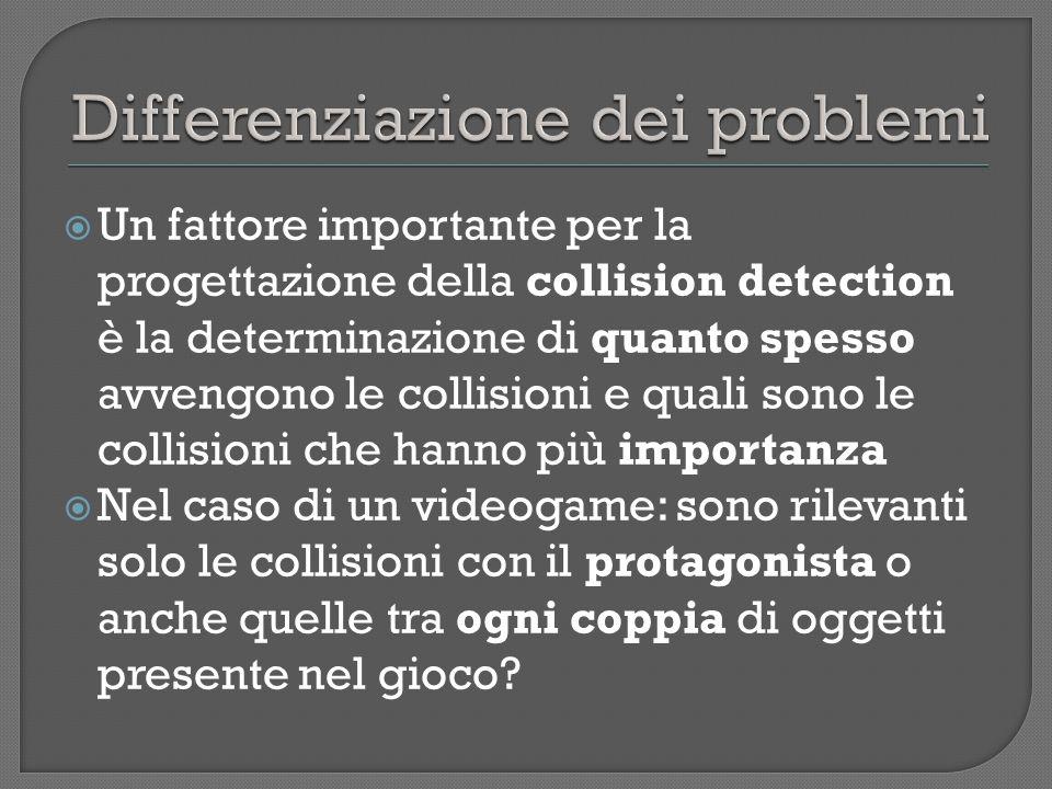 Un fattore importante per la progettazione della collision detection è la determinazione di quanto spesso avvengono le collisioni e quali sono le collisioni che hanno più importanza Nel caso di un videogame: sono rilevanti solo le collisioni con il protagonista o anche quelle tra ogni coppia di oggetti presente nel gioco