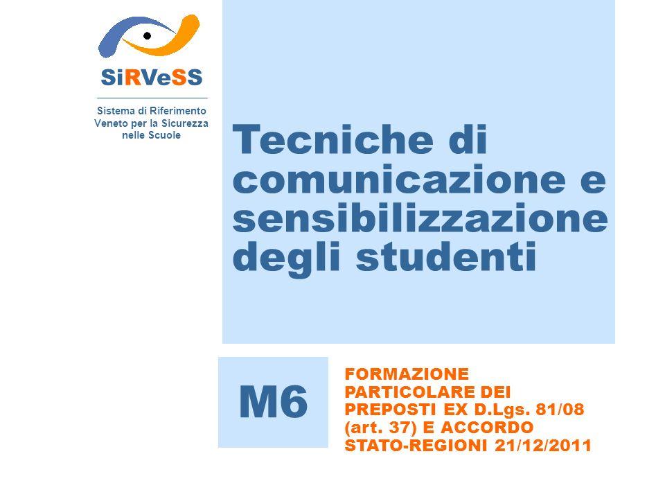 Tecniche di comunicazione e sensibilizzazione degli studenti SiRVeSS Sistema di Riferimento Veneto per la Sicurezza nelle Scuole M6 FORMAZIONE PARTICO