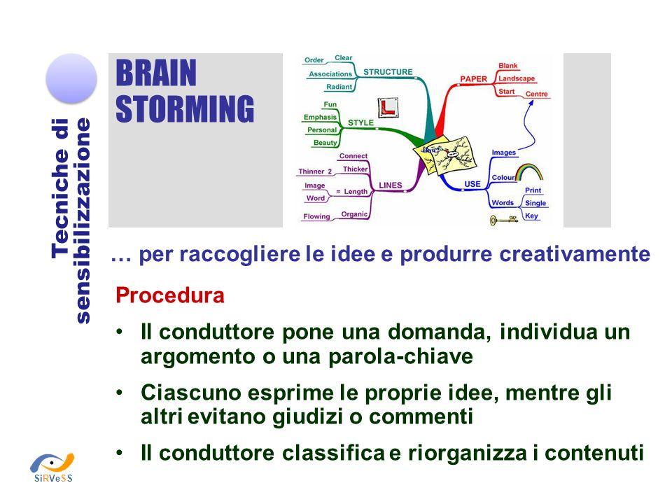 BRAIN STORMING Tecniche di sensibilizzazione … per raccogliere le idee e produrre creativamente Procedura Il conduttore pone una domanda, individua un