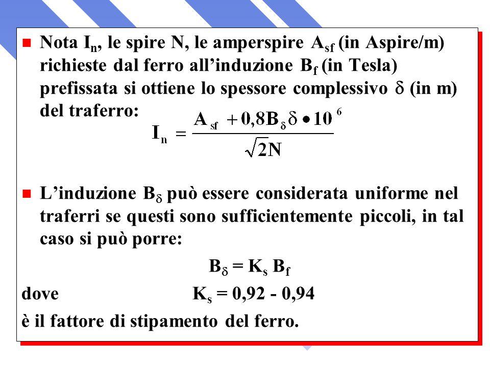 Nota I n, le spire N, le amperspire A sf (in Aspire/m) richieste dal ferro allinduzione B f (in Tesla) prefissata si ottiene lo spessore complessivo (