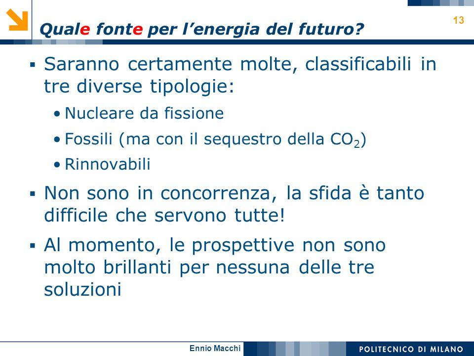 Ennio Macchi 13 Quale fonte per lenergia del futuro? Saranno certamente molte, classificabili in tre diverse tipologie: Nucleare da fissione Fossili (