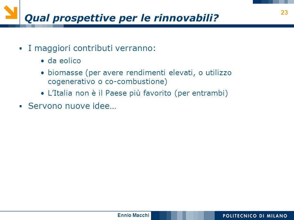 Ennio Macchi 23 Qual prospettive per le rinnovabili? I maggiori contributi verranno: da eolico biomasse (per avere rendimenti elevati, o utilizzo coge