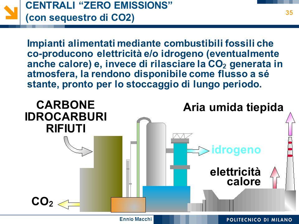 Ennio Macchi 35 CENTRALI ZERO EMISSIONS (con sequestro di CO2) Impianti alimentati mediante combustibili fossili che co-producono elettricità e/o idro