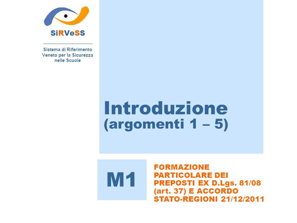 Introduzione (argomenti 1 – 5) SiRVeSS Sistema di Riferimento Veneto per la Sicurezza nelle Scuole M1 FORMAZIONE PARTICOLARE DEI PREPOSTI EX D.Lgs.