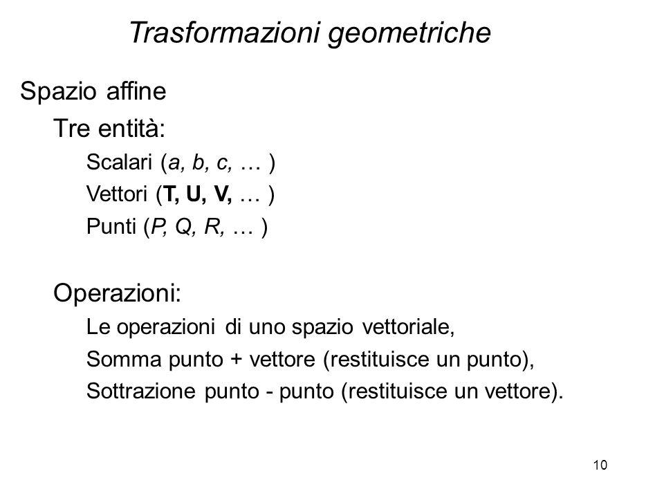 10 Spazio affine Tre entità: Scalari (a, b, c, … ) Vettori (T, U, V, … ) Punti (P, Q, R, … ) Operazioni: Le operazioni di uno spazio vettoriale, Somma