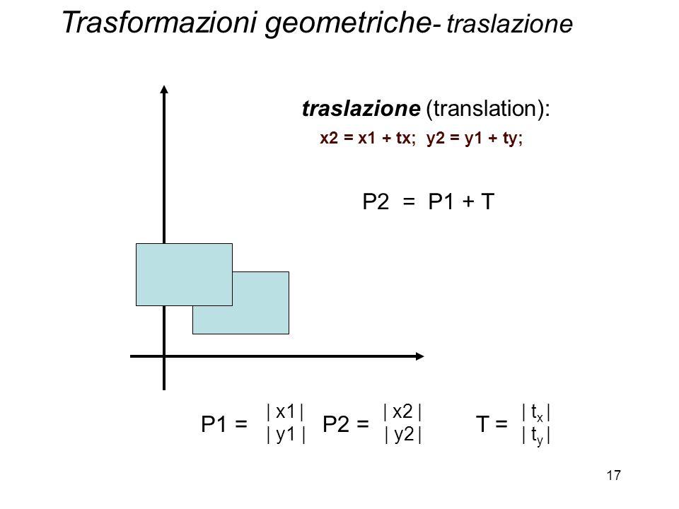17 traslazione (translation): x2 = x1 + tx; y2 = y1 + ty; P2 = P1 + T P1 = P2 = T = | x1 | | x2 | | t x | | y1 | | y2 | | t y | Trasformazioni geometr