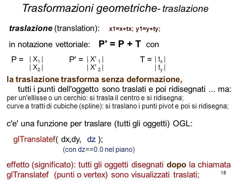 18 traslazione (translation): x1=x+tx; y1=y+ty; in notazione vettoriale: P' = P + T con P = P' = T = la traslazione trasforma senza deformazione, tutt