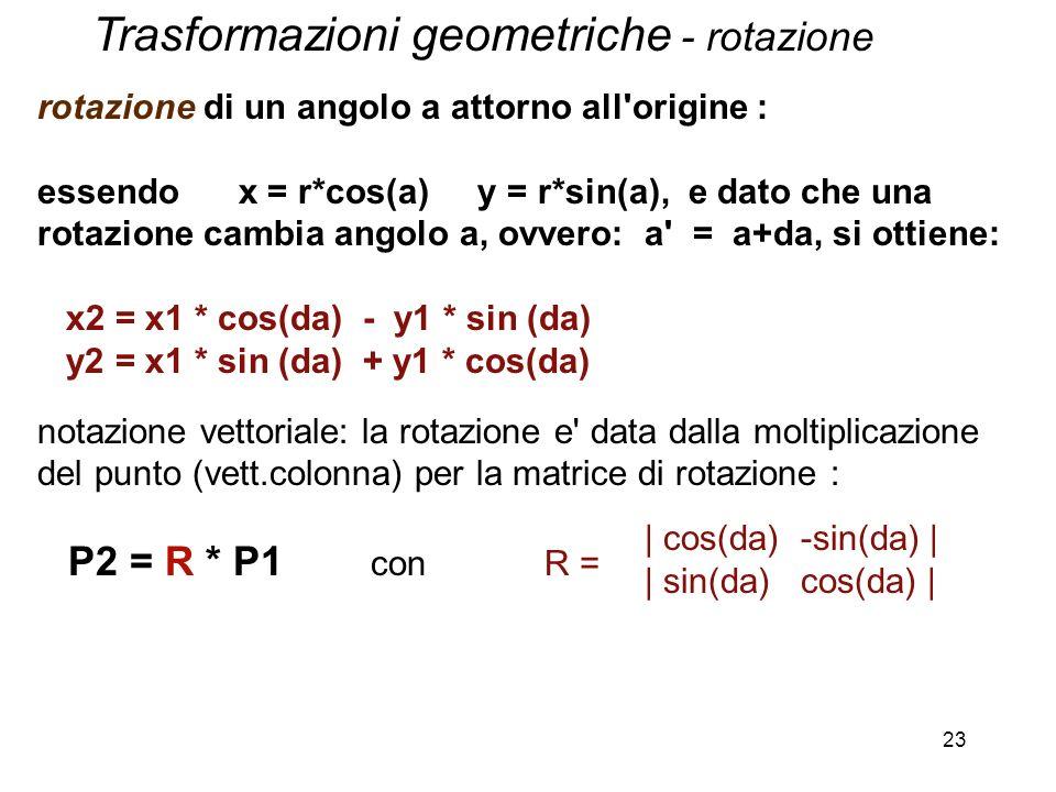 23 rotazione di un angolo a attorno all'origine : essendo x = r*cos(a) y = r*sin(a), e dato che una rotazione cambia angolo a, ovvero: a' = a+da, si o
