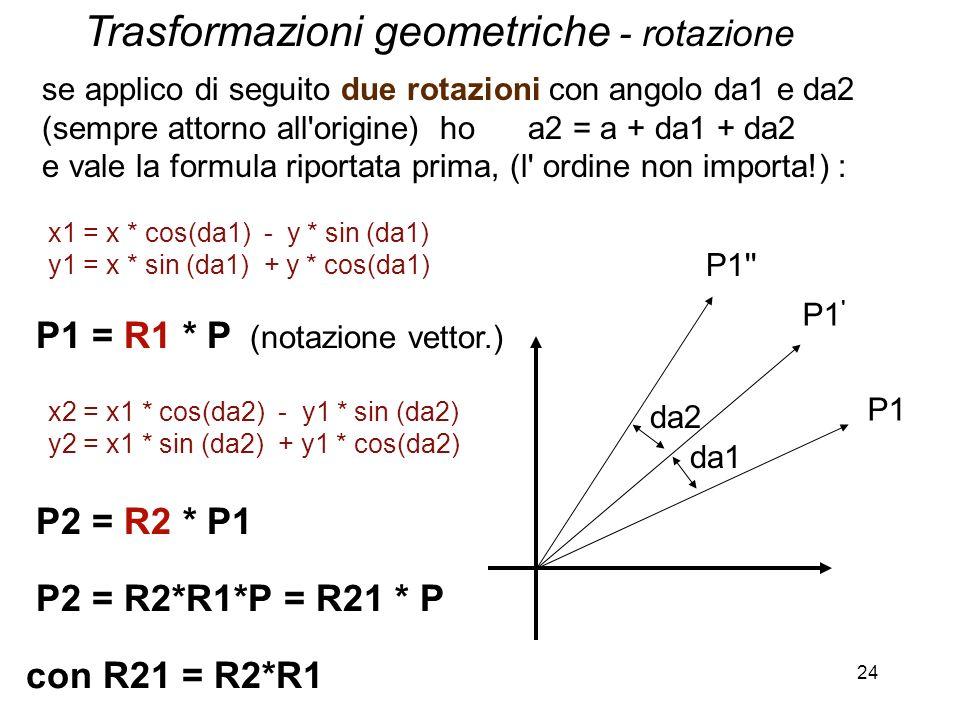 24 da1 P1 P1 ' P1'' da2 x1 = x * cos(da1) - y * sin (da1) y1 = x * sin (da1) + y * cos(da1) P1 = R1 * P (notazione vettor.) x2 = x1 * cos(da2) - y1 *