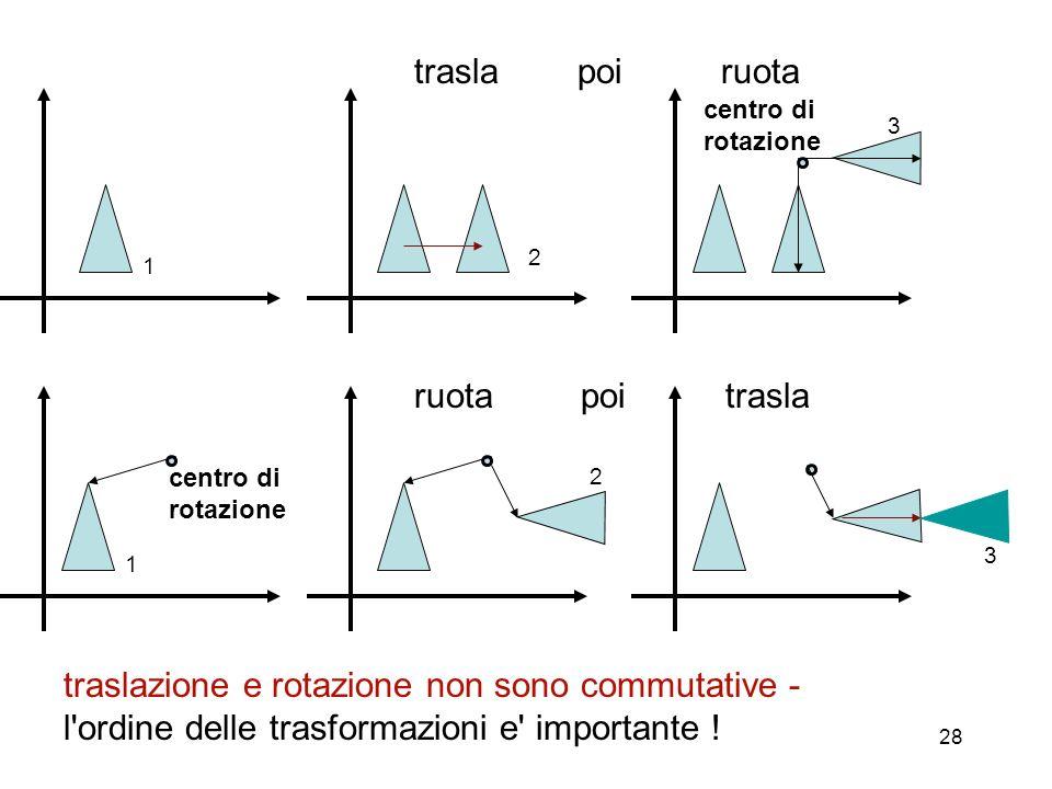 28 2 1 1 3 2 traslazione e rotazione non sono commutative - l'ordine delle trasformazioni e' importante ! 3 trasla poi ruota ruota poi trasla centro d