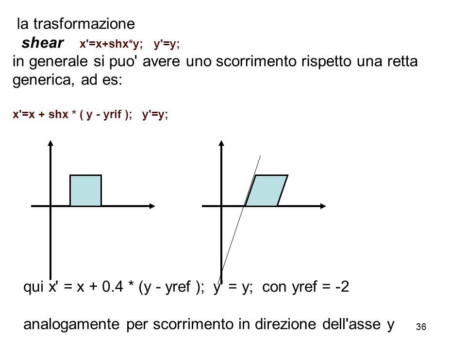 36 la trasformazione shear x'=x+shx*y; y'=y; in generale si puo' avere uno scorrimento rispetto una retta generica, ad es: x'=x + shx * ( y - yrif );