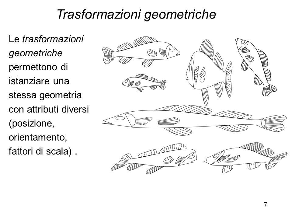 7 Le trasformazioni geometriche permettono di istanziare una stessa geometria con attributi diversi (posizione, orientamento, fattori di scala). Trasf