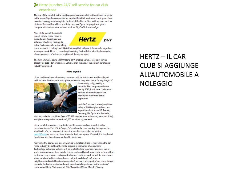 HERTZ – IL CAR CLUB SI AGGIUNGE ALLAUTOMOBILE A NOLEGGIO
