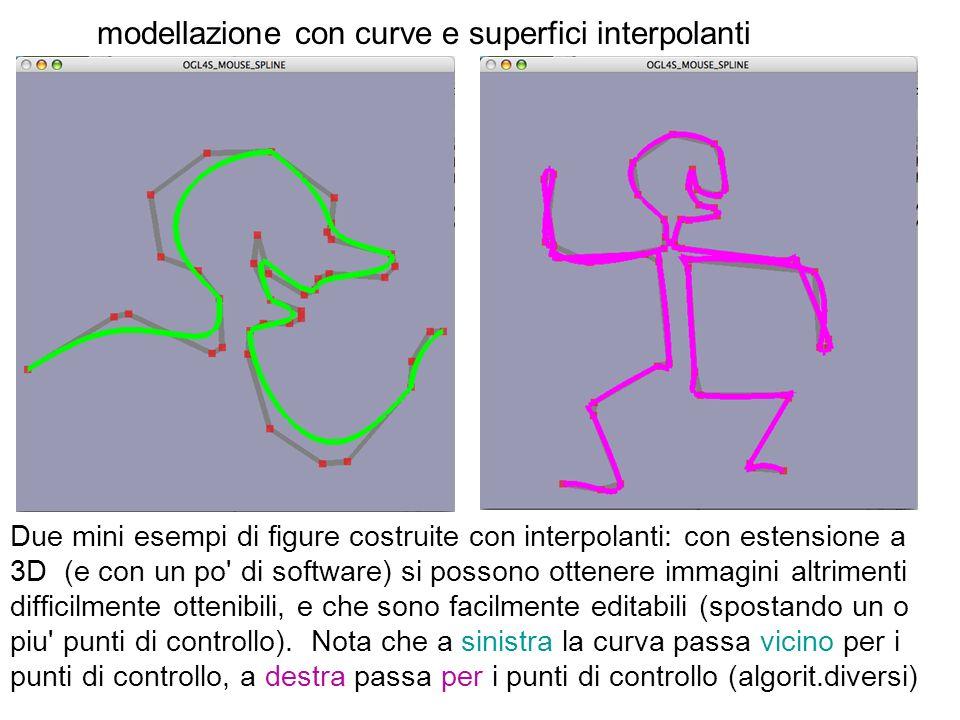 modellazione con curve e superfici interpolanti Due mini esempi di figure costruite con interpolanti: con estensione a 3D (e con un po' di software) s