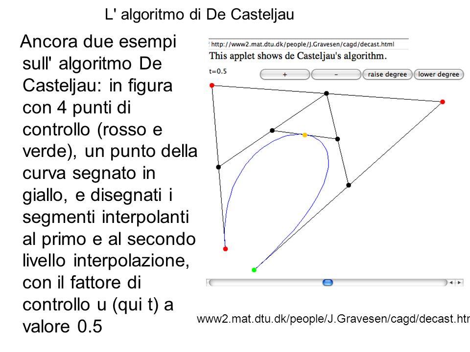 L' algoritmo di De Casteljau Ancora due esempi sull' algoritmo De Casteljau: in figura con 4 punti di controllo (rosso e verde), un punto della curva