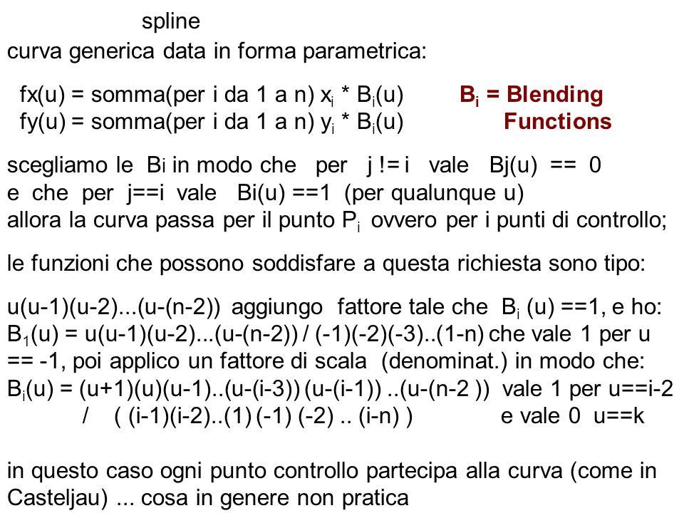spline curva generica data in forma parametrica: fx(u) = somma(per i da 1 a n) x i * B i (u) B i = Blending fy(u) = somma(per i da 1 a n) y i * B i (u