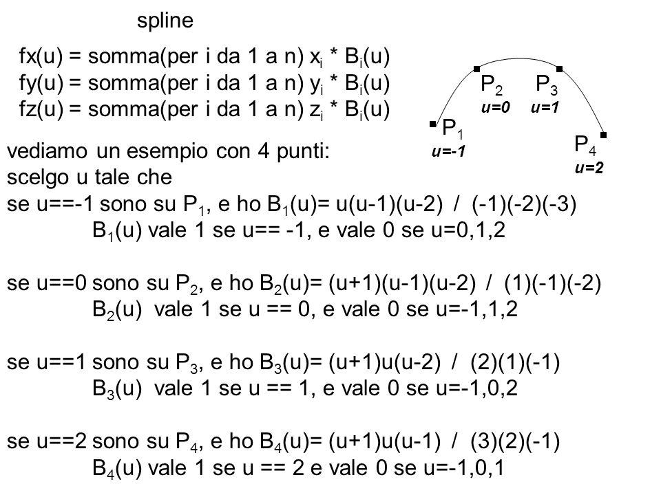 spline fx(u) = somma(per i da 1 a n) x i * B i (u) fy(u) = somma(per i da 1 a n) y i * B i (u) fz(u) = somma(per i da 1 a n) z i * B i (u) vediamo un