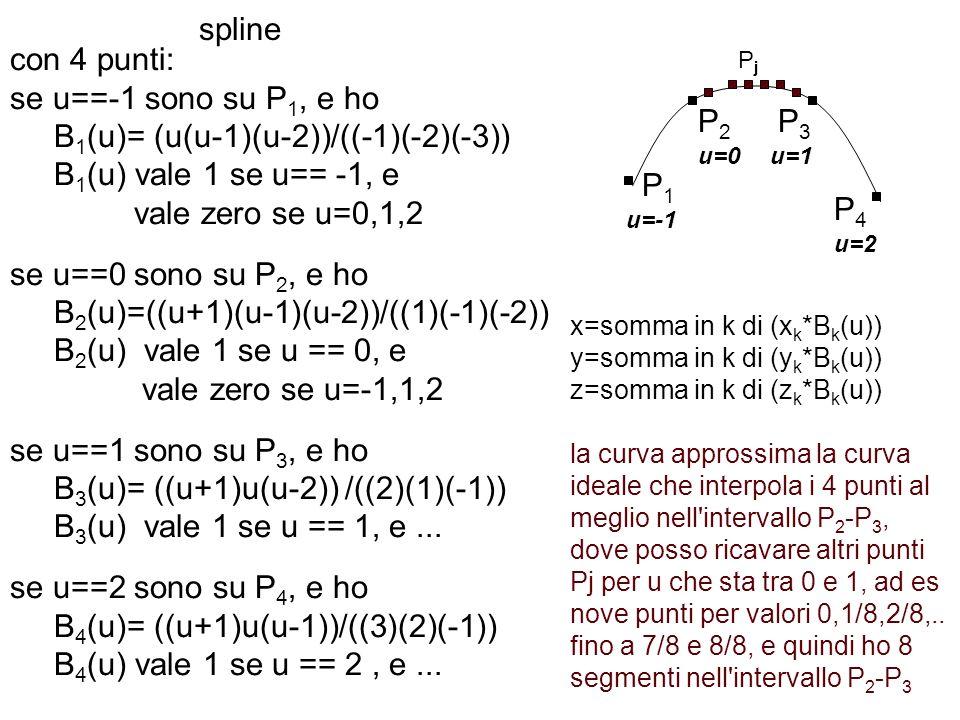 spline con 4 punti: se u==-1 sono su P 1, e ho B 1 (u)= (u(u-1)(u-2))/((-1)(-2)(-3)) B 1 (u) vale 1 se u== -1, e vale zero se u=0,1,2 se u==0 sono su