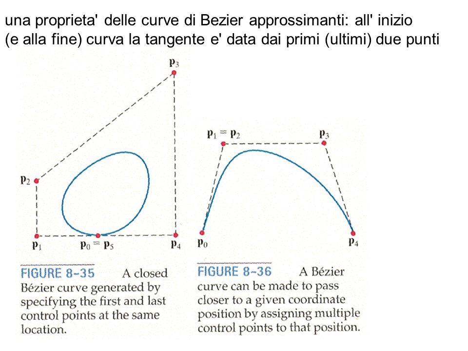 una proprieta' delle curve di Bezier approssimanti: all' inizio (e alla fine) curva la tangente e' data dai primi (ultimi) due punti