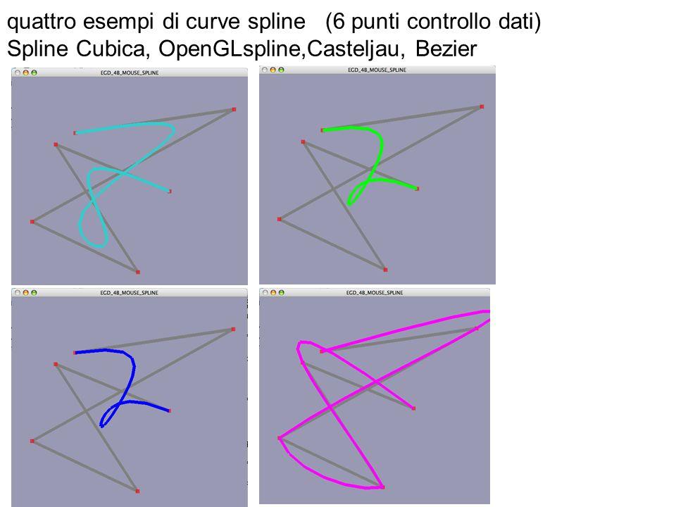 quattro esempi di curve spline (6 punti controllo dati) Spline Cubica, OpenGLspline,Casteljau, Bezier