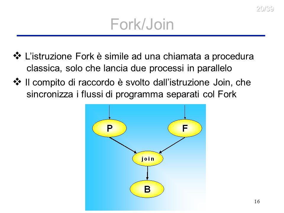 16 Fork/Join Listruzione Fork è simile ad una chiamata a procedura classica, solo che lancia due processi in parallelo Il compito di raccordo è svolto dallistruzione Join, che sincronizza i flussi di programma separati col Fork