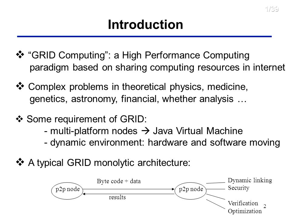 2 Introduction GRID Computing: a High Performance Computing paradigm based on sharing computing resources in internet Complex problems in theoretical