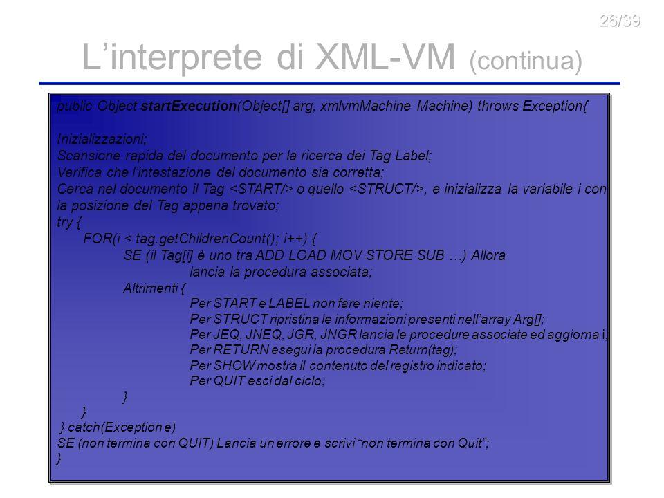 22 Linterprete di XML-VM (continua) public Object startExecution(Object[] arg, xmlvmMachine Machine) throws Exception{ Inizializzazioni; Scansione rapida del documento per la ricerca dei Tag Label; Verifica che lintestazione del documento sia corretta; Cerca nel documento il Tag o quello, e inizializza la variabile i con la posizione del Tag appena trovato; try { FOR(i < tag.getChildrenCount(); i++) { SE (il Tag[i] è uno tra ADD LOAD MOV STORE SUB …) Allora lancia la procedura associata; Altrimenti { Per START e LABEL non fare niente; Per STRUCT ripristina le informazioni presenti nellarray Arg[]; Per JEQ, JNEQ, JGR, JNGR lancia le procedure associate ed aggiorna i ; Per RETURN esegui la procedura Return(tag); Per SHOW mostra il contenuto del registro indicato; Per QUIT esci dal ciclo; } } catch(Exception e) SE (non termina con QUIT) Lancia un errore e scrivi non termina con Quit; }
