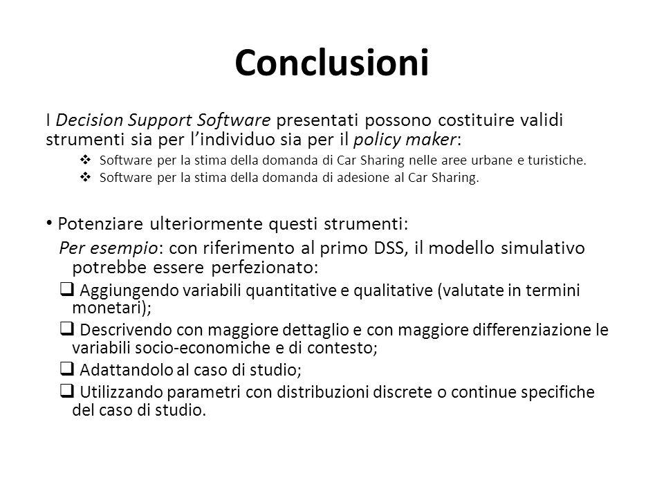 Conclusioni I Decision Support Software presentati possono costituire validi strumenti sia per lindividuo sia per il policy maker: Software per la sti
