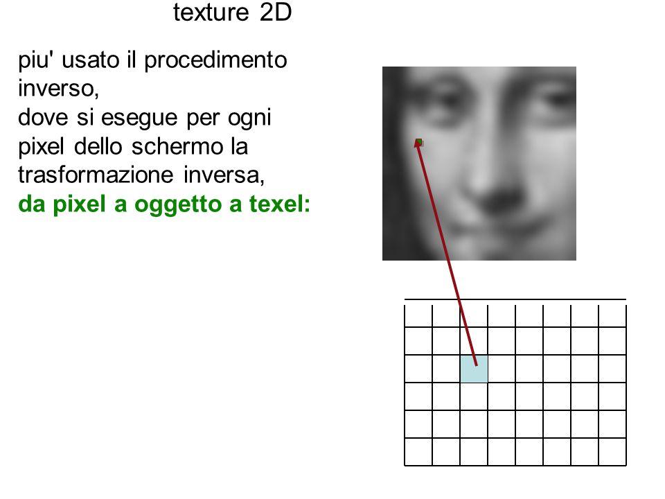 texture 2D piu' usato il procedimento inverso, dove si esegue per ogni pixel dello schermo la trasformazione inversa, da pixel a oggetto a texel: