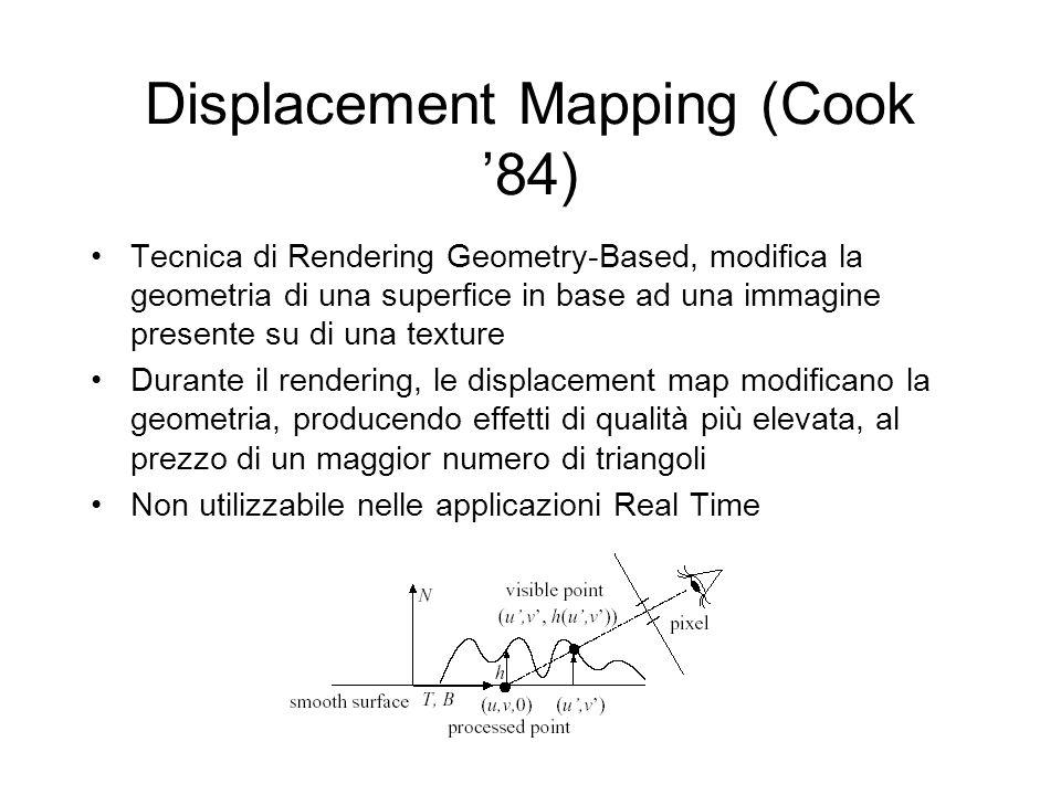 Displacement Mapping (Cook 84) Tecnica di Rendering Geometry-Based, modifica la geometria di una superfice in base ad una immagine presente su di una