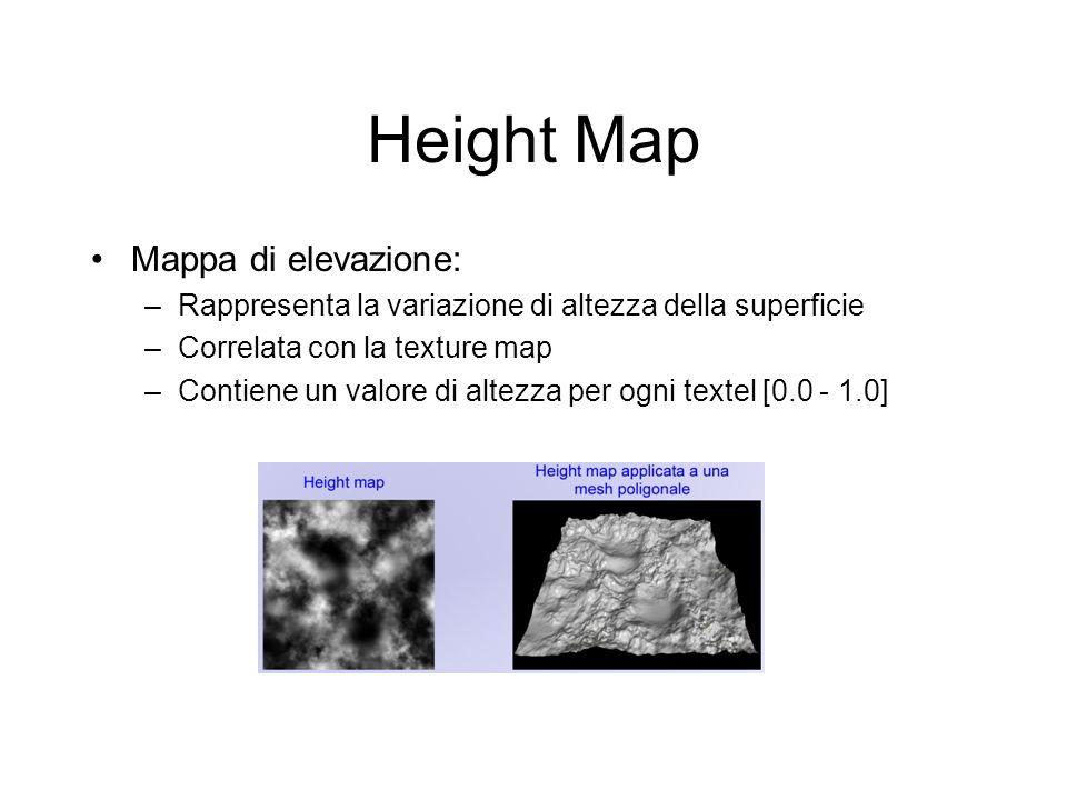 Height Map Mappa di elevazione: –Rappresenta la variazione di altezza della superficie –Correlata con la texture map –Contiene un valore di altezza pe