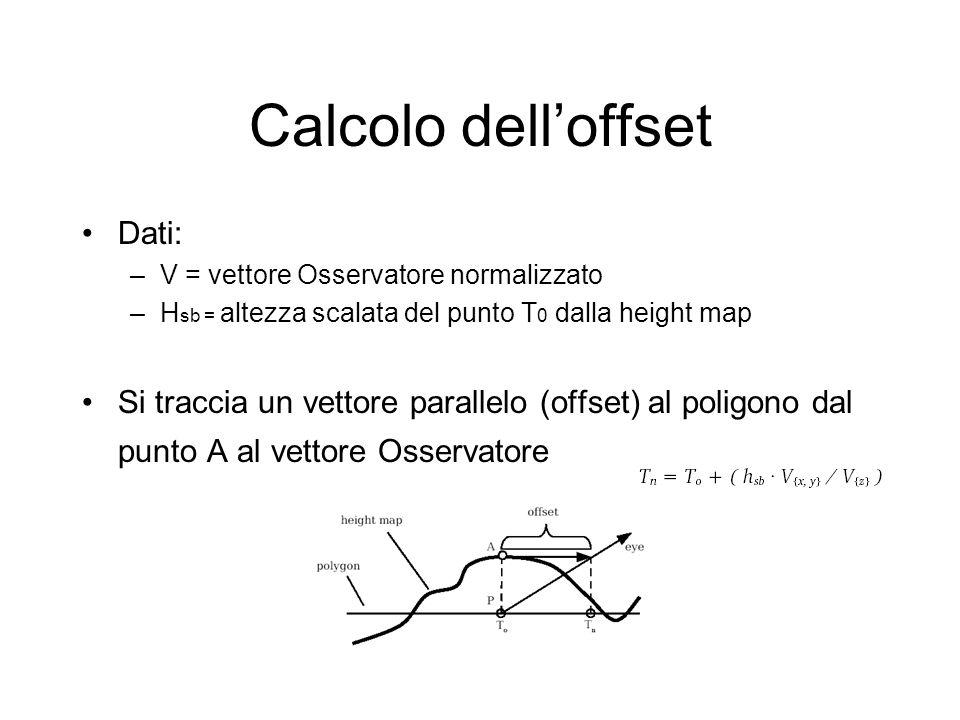 Calcolo delloffset Dati: –V = vettore Osservatore normalizzato –H sb = altezza scalata del punto T 0 dalla height map Si traccia un vettore parallelo