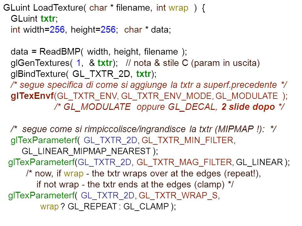 GLuint LoadTexture( char * filename, int wrap ) { GLuint txtr; int width=256, height=256; char * data; data = ReadBMP( width, height, filename ); glGe