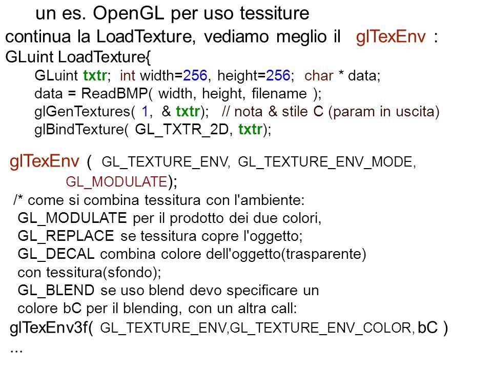 un es. OpenGL per uso tessiture continua la LoadTexture, vediamo meglio il glTexEnv : GLuint LoadTexture{ GLuint txtr; int width=256, height=256; char