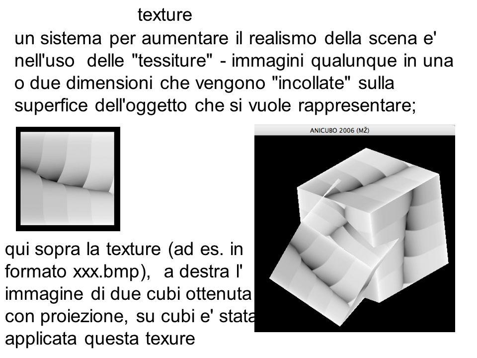 texture un sistema per aumentare il realismo della scena e' nell'uso delle