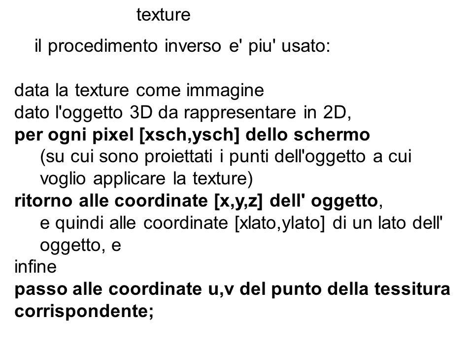 texture il procedimento inverso e' piu' usato: data la texture come immagine dato l'oggetto 3D da rappresentare in 2D, per ogni pixel [xsch,ysch] dell