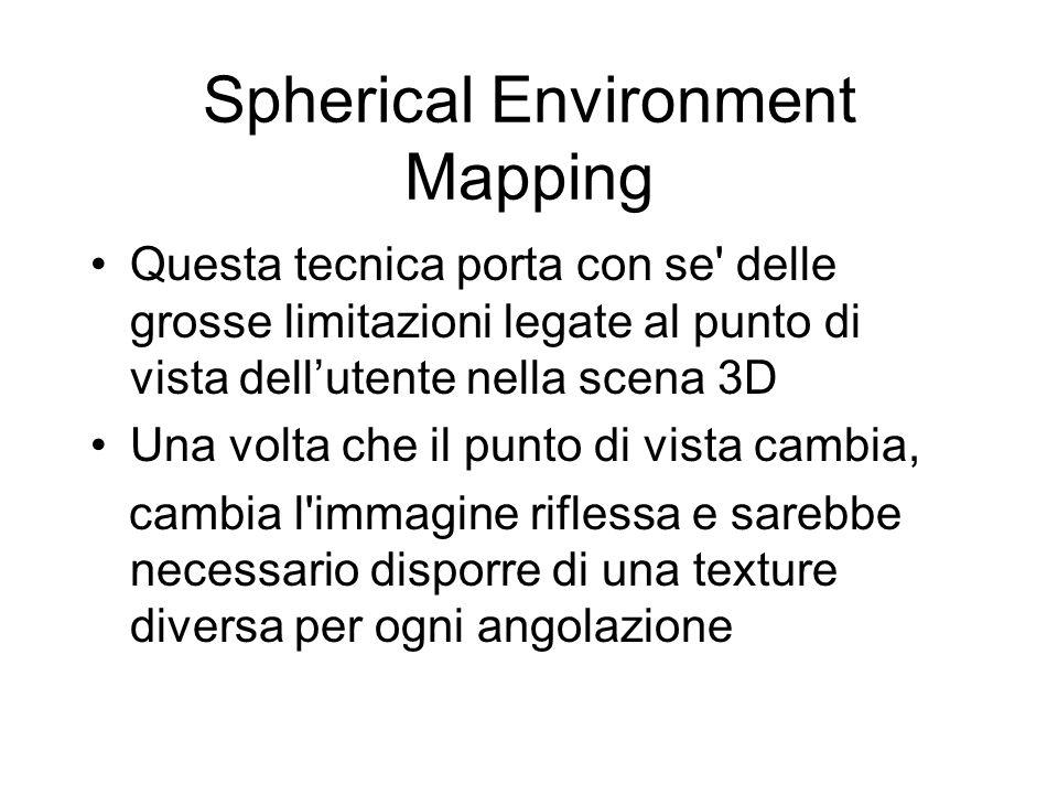 Spherical Environment Mapping Questa tecnica porta con se' delle grosse limitazioni legate al punto di vista dellutente nella scena 3D Una volta che i