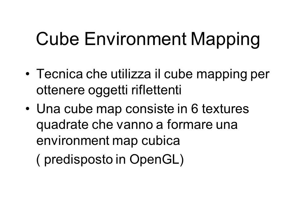 Cube Environment Mapping Tecnica che utilizza il cube mapping per ottenere oggetti riflettenti Una cube map consiste in 6 textures quadrate che vanno