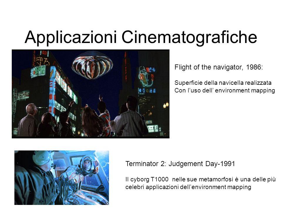 Applicazioni Cinematografiche Flight of the navigator, 1986: Superficie della navicella realizzata Con luso dell environment mapping Terminator 2: Jud